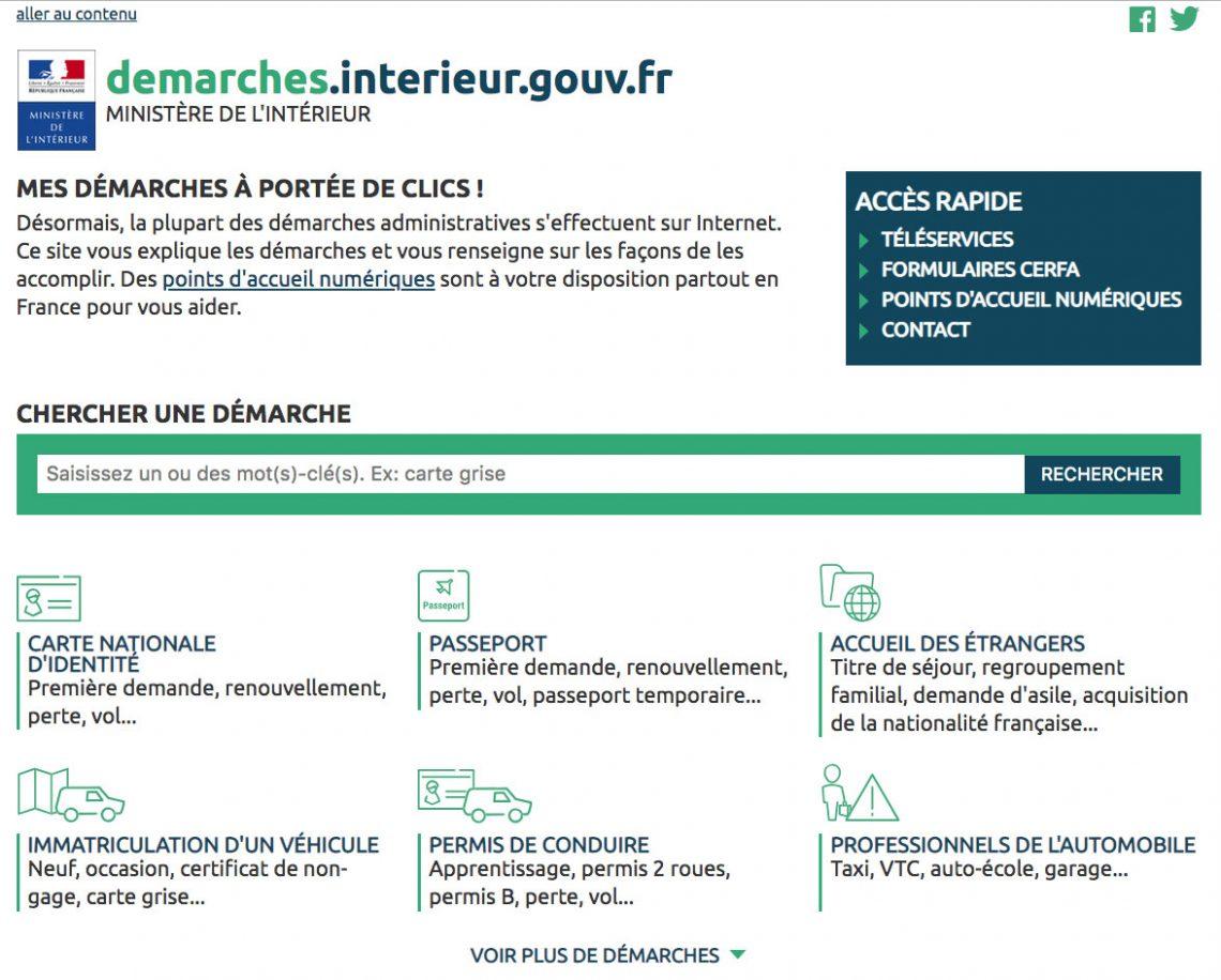 visuel du site du gouvernement pour les démarches en ligne