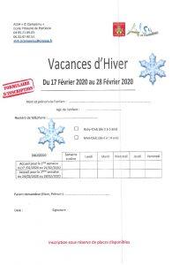 Bulletin inscription vacances d'hiver 2020
